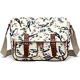 Miss Lulu Messenger Bag School Satchel Bookbag Oilcloth Bird Flower Cross-body Bags Handbag