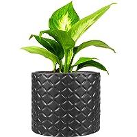 5-Inch Black Ceramic Round Succulent Plant Pot, Small Flower Planter with Diamond Texture