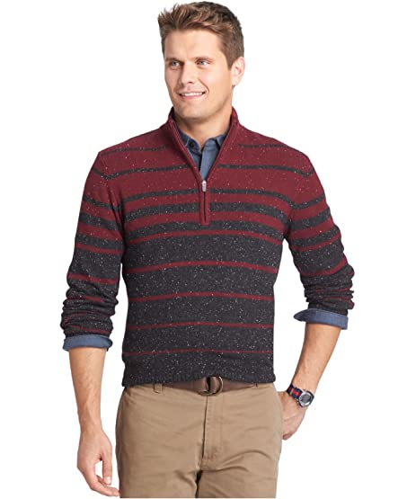 Izod Men's Striped Quarter-Zip Donegal Sweater Red Wine (Large) at ...