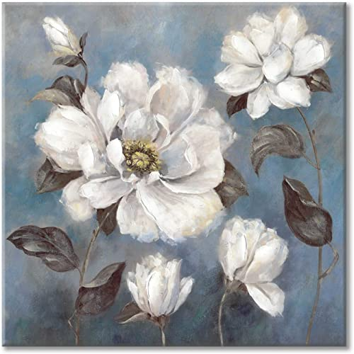 White Flower Painting Wall Art Abstract Floral Canvas Artwork Hand Painted Picture for Living Room 36 x 36 x 1 Panel