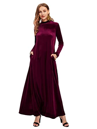 7b20976708aa1 MAKEMECHIC Women's Elegant Long Sleeve Velvet Loose Maxi Dress Burgundy XS