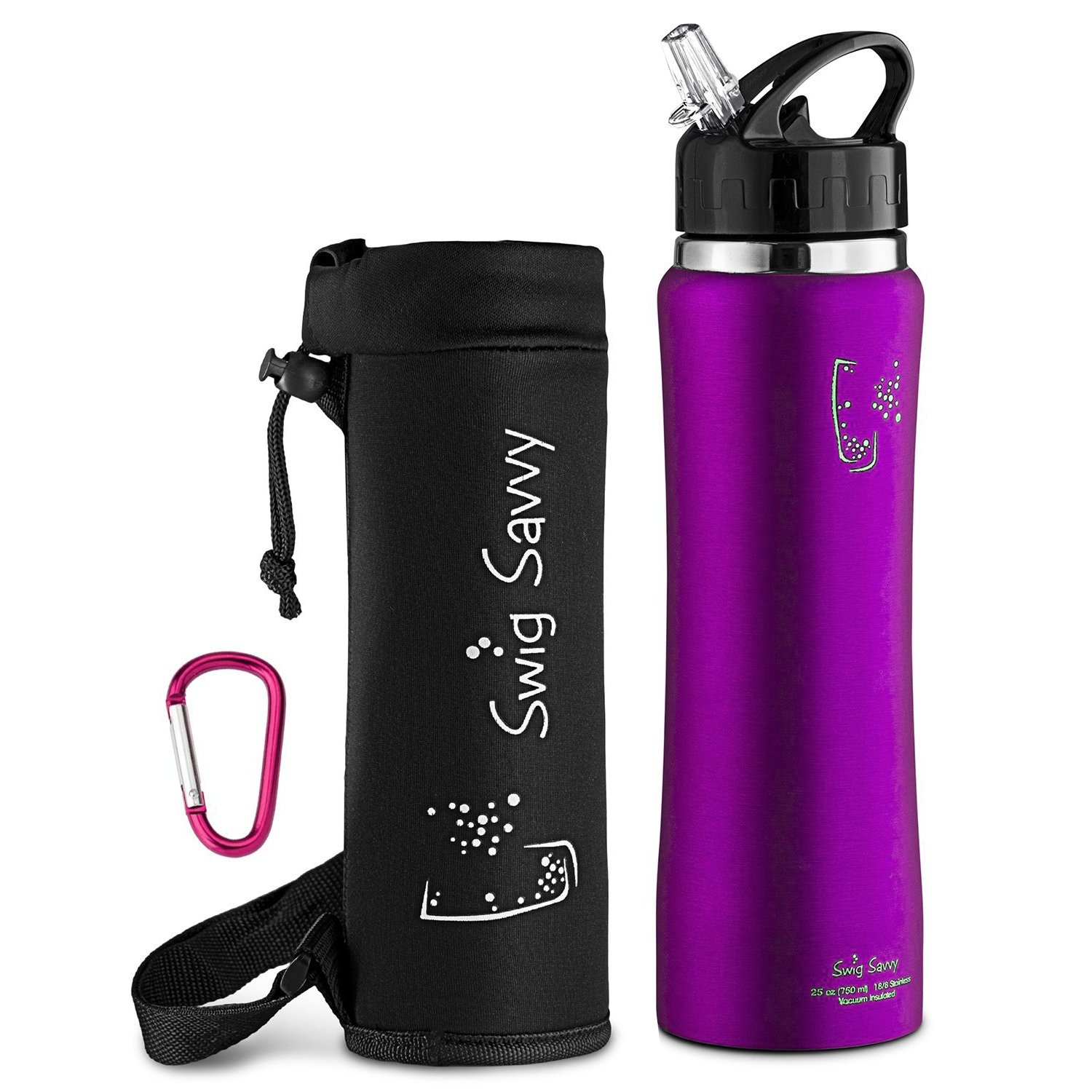 SWIG SAVVY Stainless Steel Insulated Water Bottle Wide Mouth 24oz / 32oz Double Wall Design with Straw Flip Cap - Great for Kids - Sweat Proof - Including Water Bottles Pouch (Purple, 24)