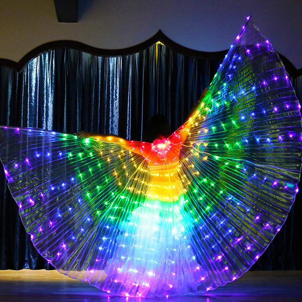 Flurries  LED Glow Angel Isis Wings - Belly Dance Costume Cloak - Neon Rainbow Color Butterfly Wings - Performance Clothing Cosplay Prop with Sticks Carnival Halloween Shows - Light Up Stage (Red)