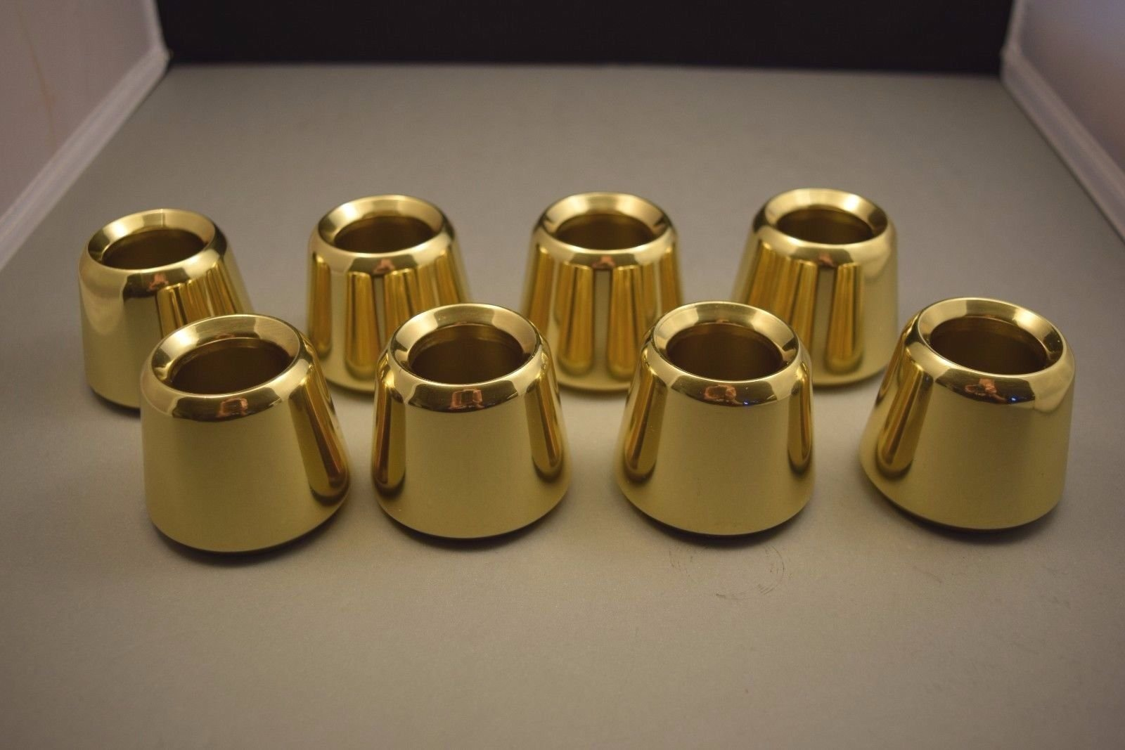 Set of 8 Solid Brass 1 1/2'' Church Candle Followers