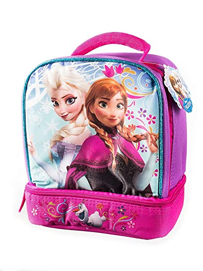 189b548afa5 Amazon.com  Disney Frozen Pink Backpack Princess Elsa   Anna 16   with a  Blue Lunch Bag 9.5   Set by Disney  Toys   Games