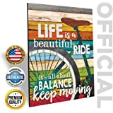 """MARLA RAE 'Life Is A Beautiful Ride' Bicycle Country Wall Art - Inspirational Bike Quotes Plaque (12"""" x 16"""")"""