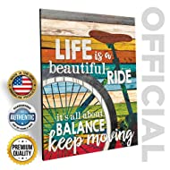 """Marla Rae 'Life is A Beautiful Ride' Chic Bicycle Country Wall Art Plaque - Rustic Farmhouse Decor for Home - Famous Inspirational Bike Quotes - Gifts for Cyclists (12"""" x 16"""")"""
