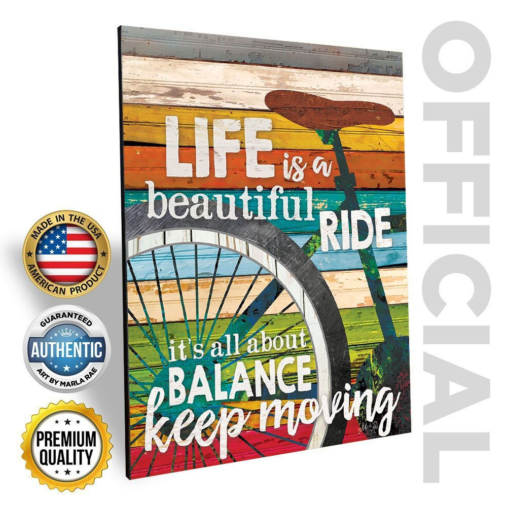 Marla Rae 'Life Is A Beautiful Ride' Chic Bicycle Country Wall Art Plaque - Rustic Farmhouse Decor for Home - Famous Inspirational Bike Quotes - Gifts for Cyclists (12'' x 16'')