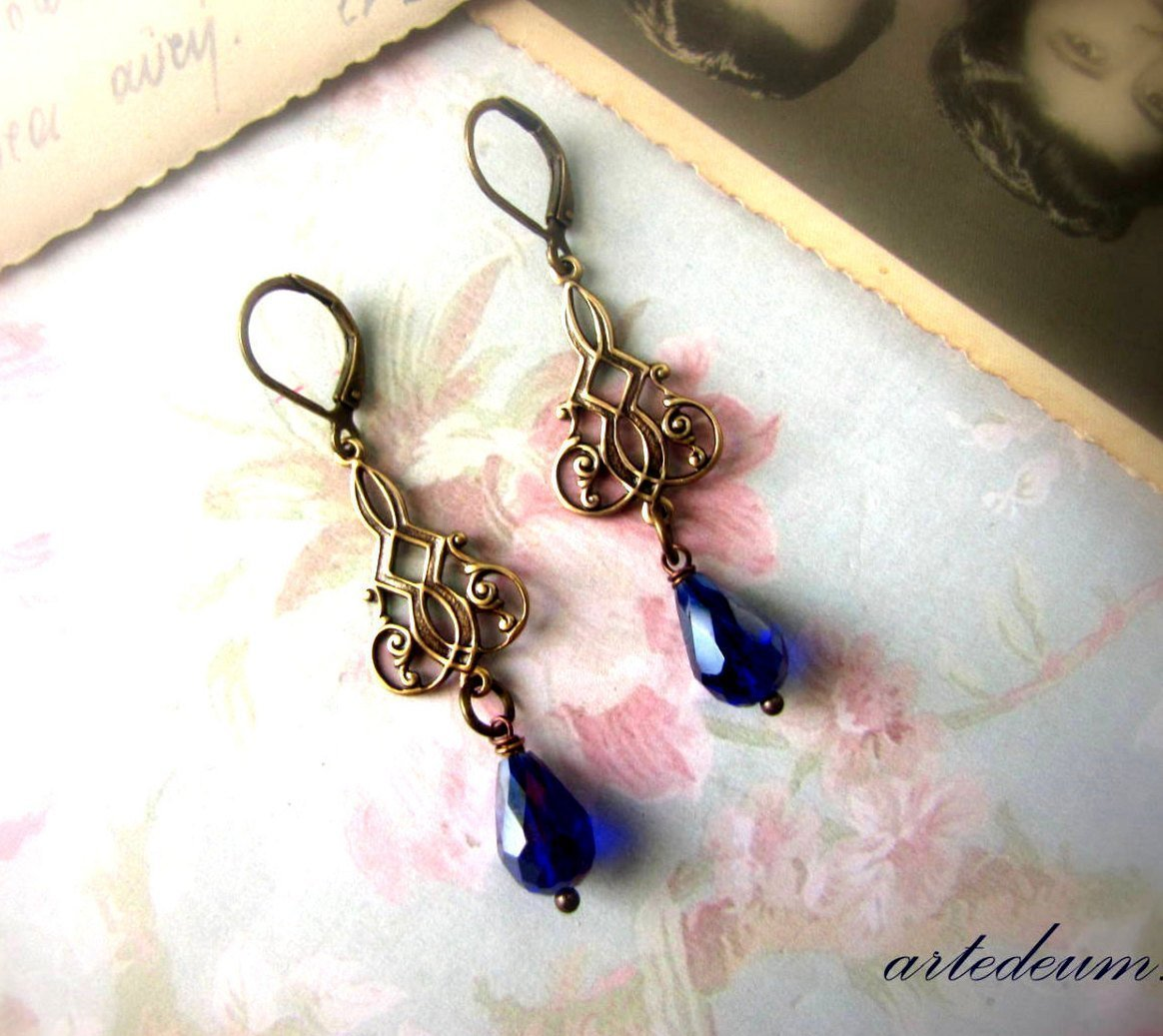 Royal Blue Teardrops earrings Downton Abbey inspired in antique gold Vintage style
