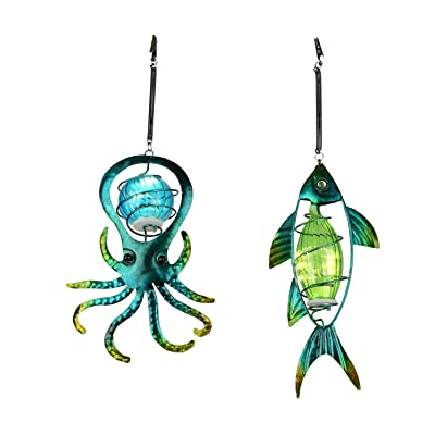 Blue Glass and Metal Art Octopus and Fish Solar Light Hanging Ornament Set