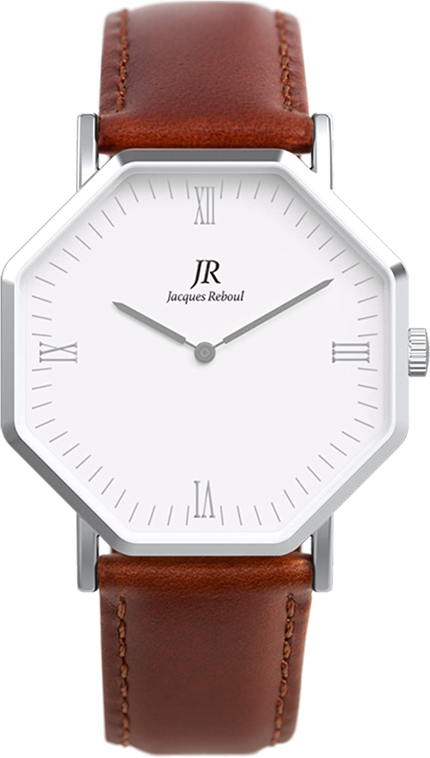 Jacques Reboul Premier Roman Silver Watch | St. Martin Women's 36mm Brown Leather Strap