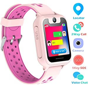 Kids Smart Watch Phone, LBS Tracker Smart Watch for Kids 3-12 Year Old Boys Girls SOS Camera Slot Touch Screen Game Outdoor Activities Toys Childrens Day Gift