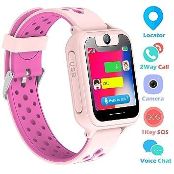 bhdlovely Montre GPS Enfant Fille Garcon Telephone Montre Intelligente pour Enfant SOS Tracker Bracelet Montre Connectée