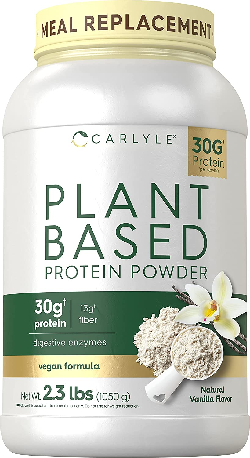 Plant Based Protein Powder   Vanilla   2.3lbs   Meal Replacement   Vegan, Non-GMO & Gluten Free Formula   Plus Superfoods   by Carlyle
