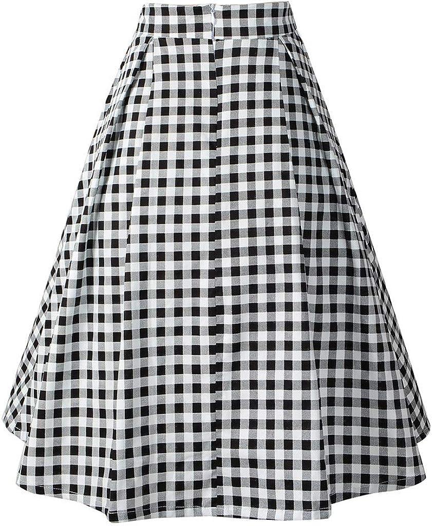 PARVAL Mujer Falda Plisada Elegante a Cuadros de una línea de ...