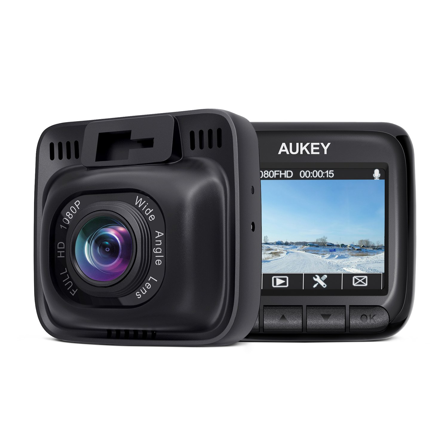 AUKEY Dash Cam Full HD 1080P Car Camera 6-Lane 170° Wide Angle, Supercapacitor, WDR Night Vision Dashboard Camera with G-Sensor, Loop Recording and Dual-Port Car Charger DR01
