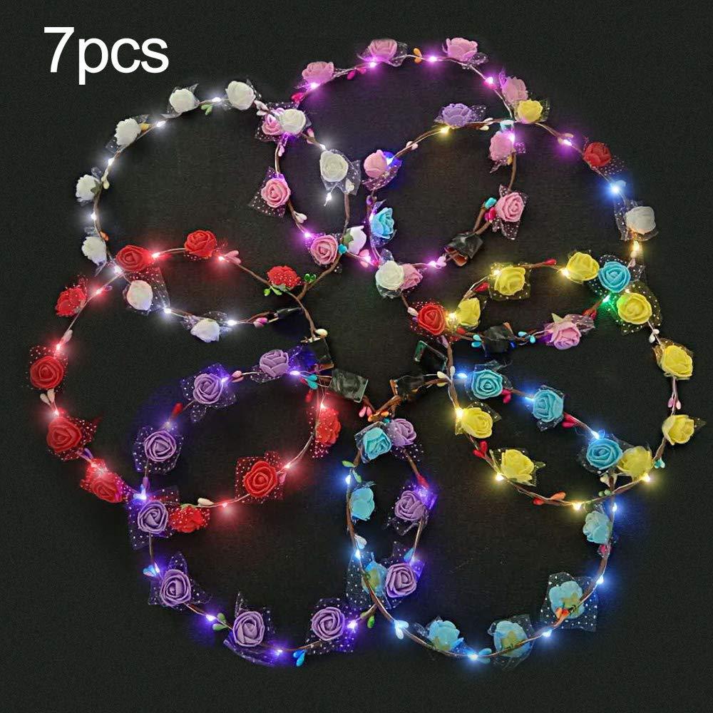 Hair LED Diadem For Women Girls Hair Accessories Wedding Festival 17cm Boho Flowers Headband BUZIFU 7 Pcs LED Flower Headband Flashing Wreath