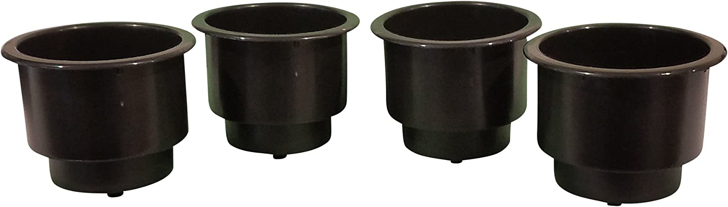 2 Pack//Black JSmarine Recessed Drop in Plastic Cup Drink Can Holder with Drain for Boat Car Marine Rv 2 Pack//Black