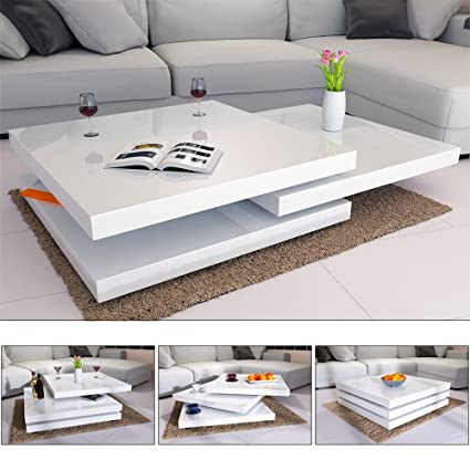 Table Basse Blanche Design.Deuba Table Basse De Salon Blanc Moderne Carre 80x80cm Laquee Brillante Rotative A 360 Charge Max 20 Kg Design Innovant Table Interieur