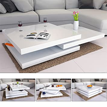 Deuba Table Basse De Salon Blanc Moderne Carre 80x80cm Laquee Brillante Rotative A 360 Charge Max 20 Kg Design Innovant Table Interieur