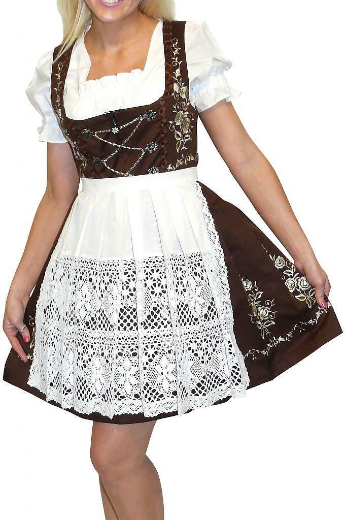 Dirndl Trachten Haus 3-Piece Short German Wear Party Oktoberfest Waitress Dress 10 40 Brown
