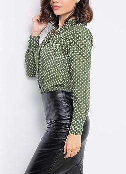 Blusas Mujer Vintage Moda Lunares Camisas Primavera Casual Otoño V-Cuello Manga Larga Chic Casuales Mujeres Camicia Bluse Tops Camisas Señoras (Color : Verde, Size : S): Amazon.es: Ropa y accesorios