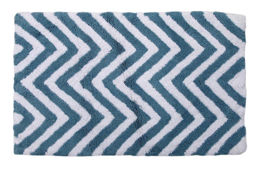 WARISI - 2 Piece Chevron Pedestal Collection - Designer Plush, Cotton Bath Rug and contour, 34 x 21 and 21 x 21(Aqua Blue White) by WARISI (Image #2)