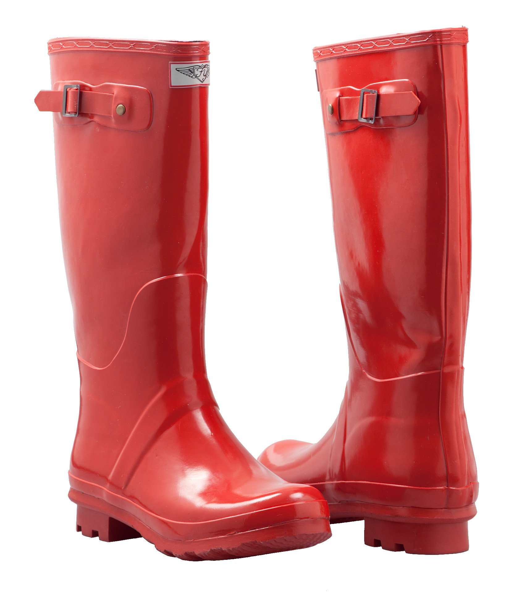 Forever Young Women's Rain Boots, Rubber Mid Calf Lined Boots Hunting Style (Red) (7)