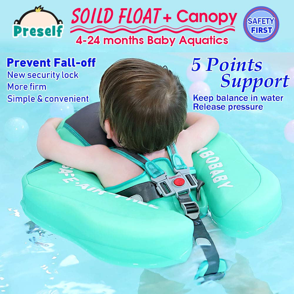 PRESELF Baby Solid Float with Canopy Safety Aquatics Floating Ring Fit Infant Toddler Swimming Pool Swim School Training (Green) by PRESELF (Image #5)