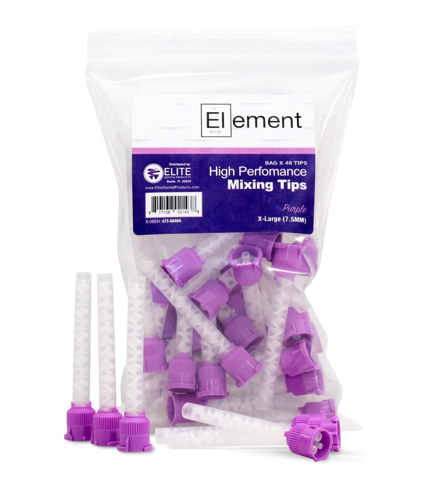 ELEMENT HP PURPLE VPS Mixing Tips 7.5 mm Impression 48/PK Genuine Mixpac