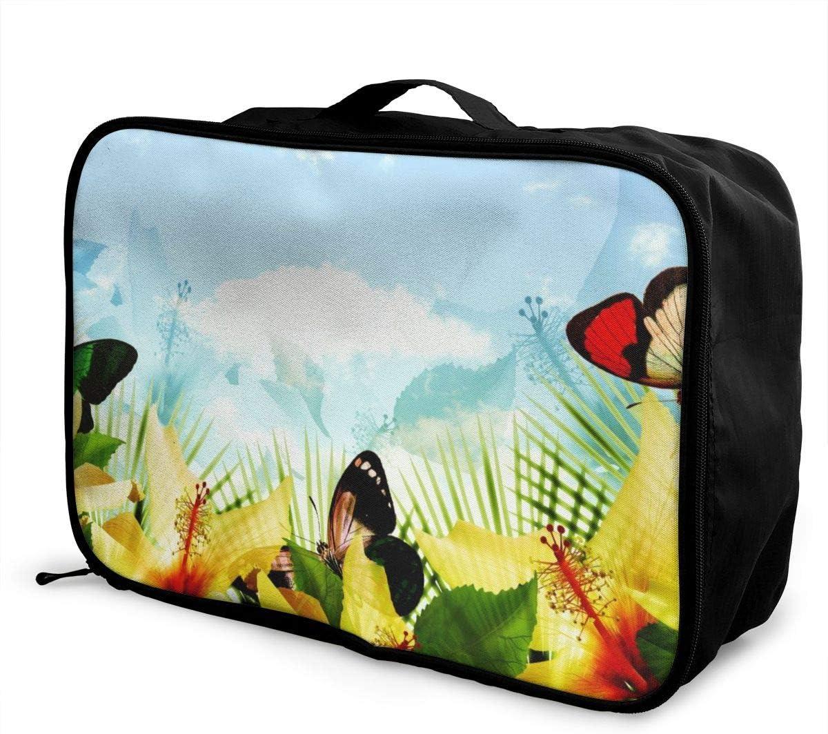 Yunshm Flower And Leaf Purple Trolley Handbag Waterproof Unisex Large Capacity For Business Travel Storage