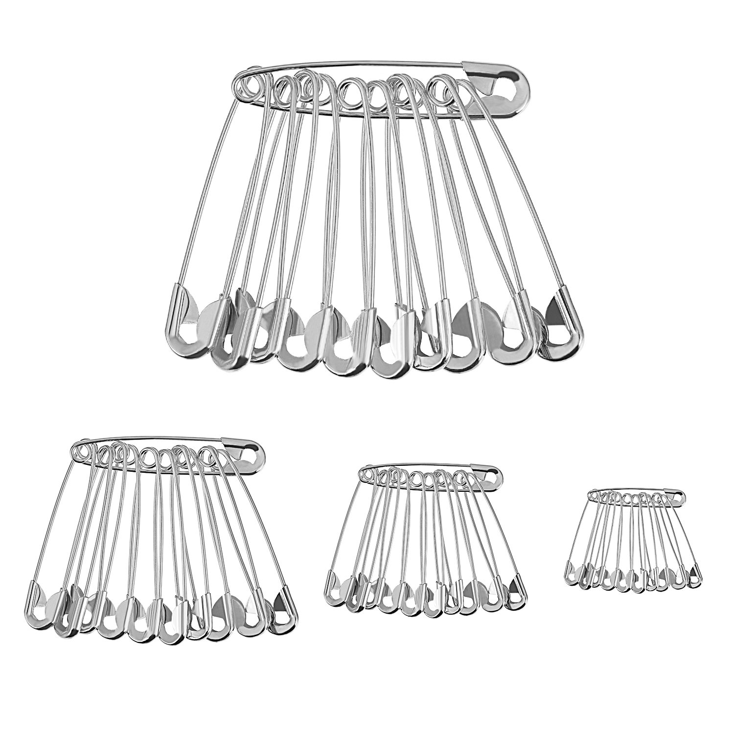 300 Pieces Heavy Duty Safety Pins with 4 Sizes (19 mm, 28 mm, 38 mm, 50 mm) for Clothing, Crafts, Art, Skirts and Blanket BBTO 4337009829