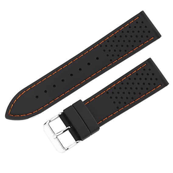 aea9ef628fc Image Unavailable. Image not available for. Color  22mm Black Orange  Stitched Silicone Diver Watch Band ...