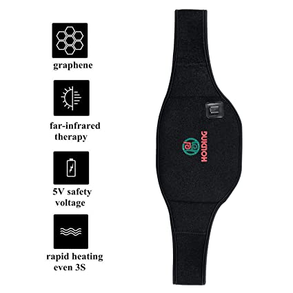 GDbow Waist Heating Belt Far Infrared Heated Waist Belt Pain Relief Therapy  Made of High-Tech Graphene with USB Charging Cable and Pouch for Power