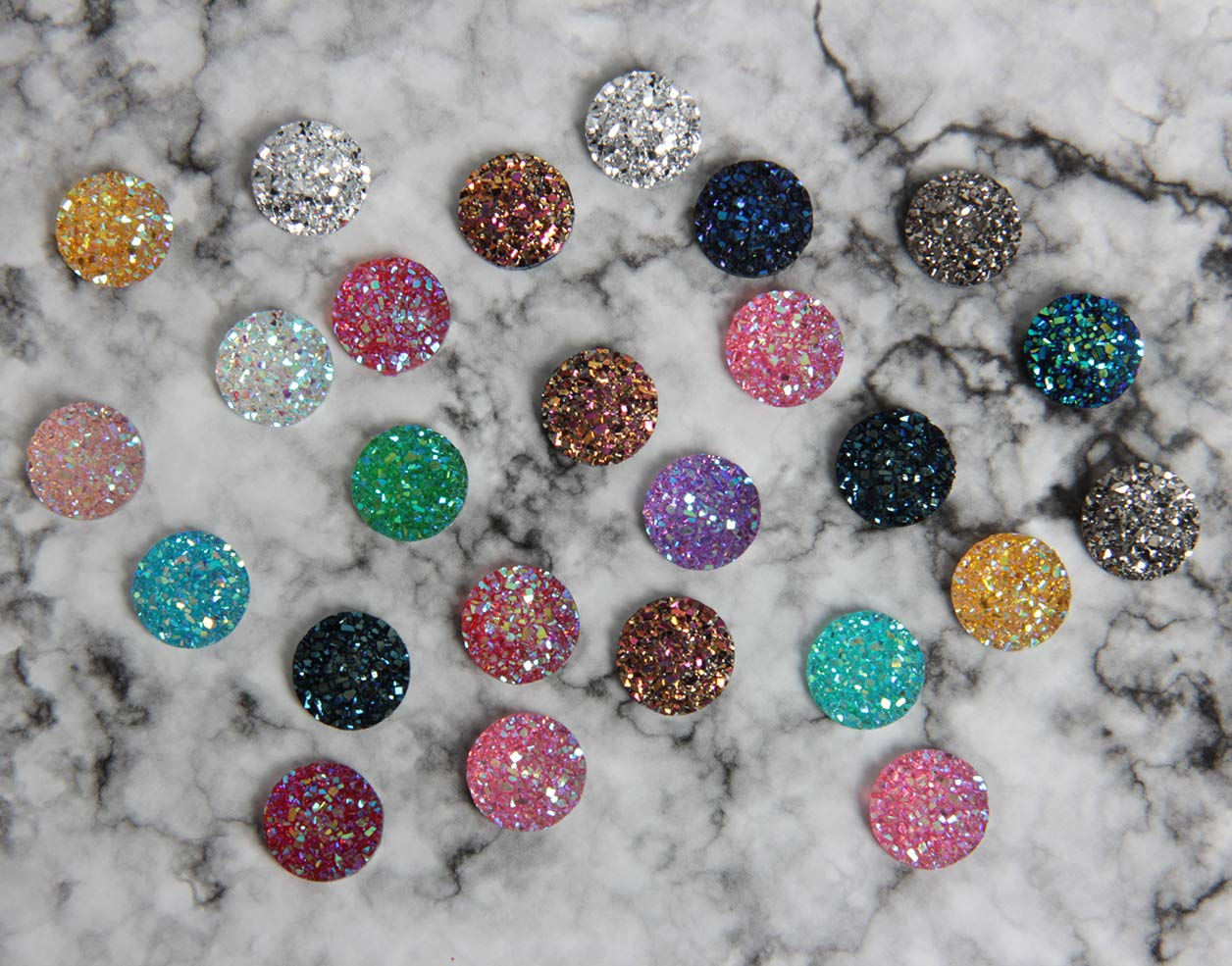 SBYURE 120 Pieces Resin Round Flat Back Mixed Shinny Color for Jewelry Making,DIY Crafts,12mm
