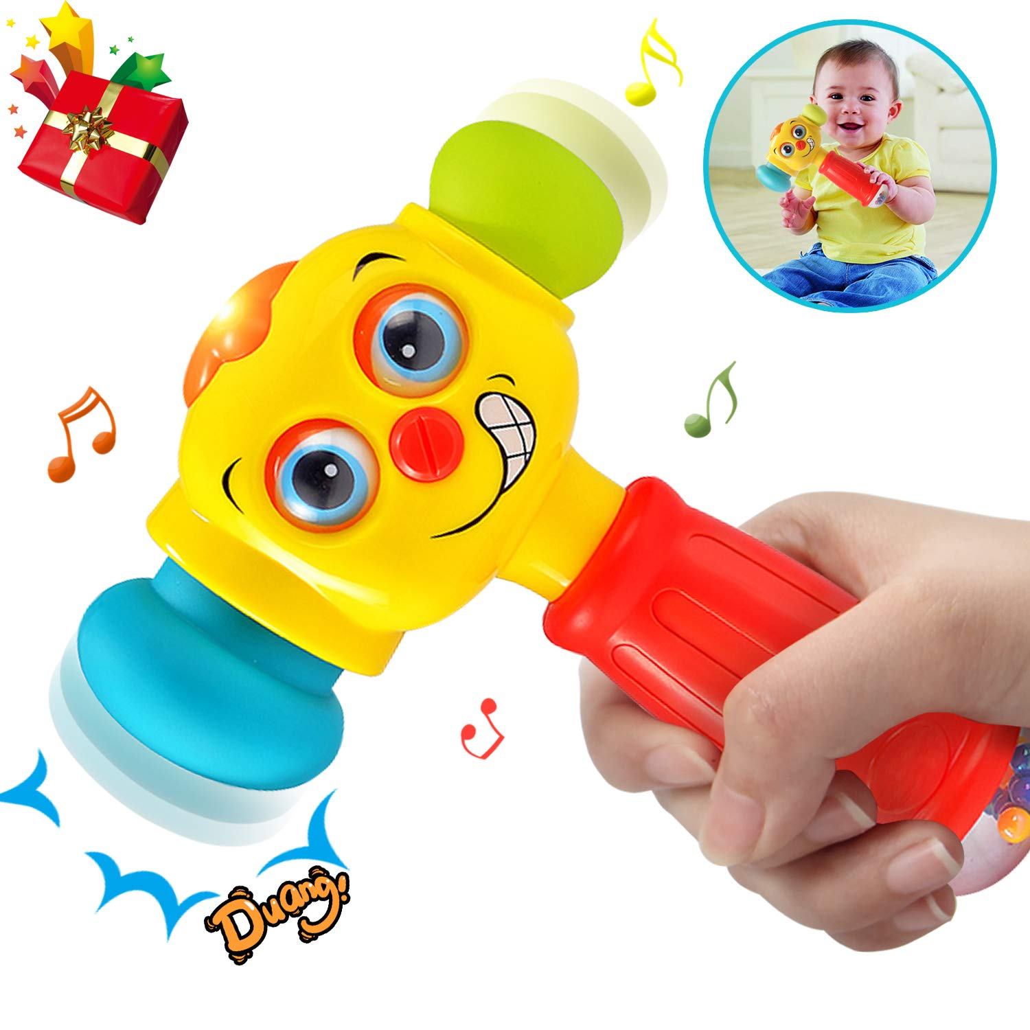HOMOFY Baby Toys Funny Changeable Hammer Toys 6 Months up,Multi-Function,Lights MusicToys for Infant Boys Girls 1 2 3 Years Old -Best Gifts