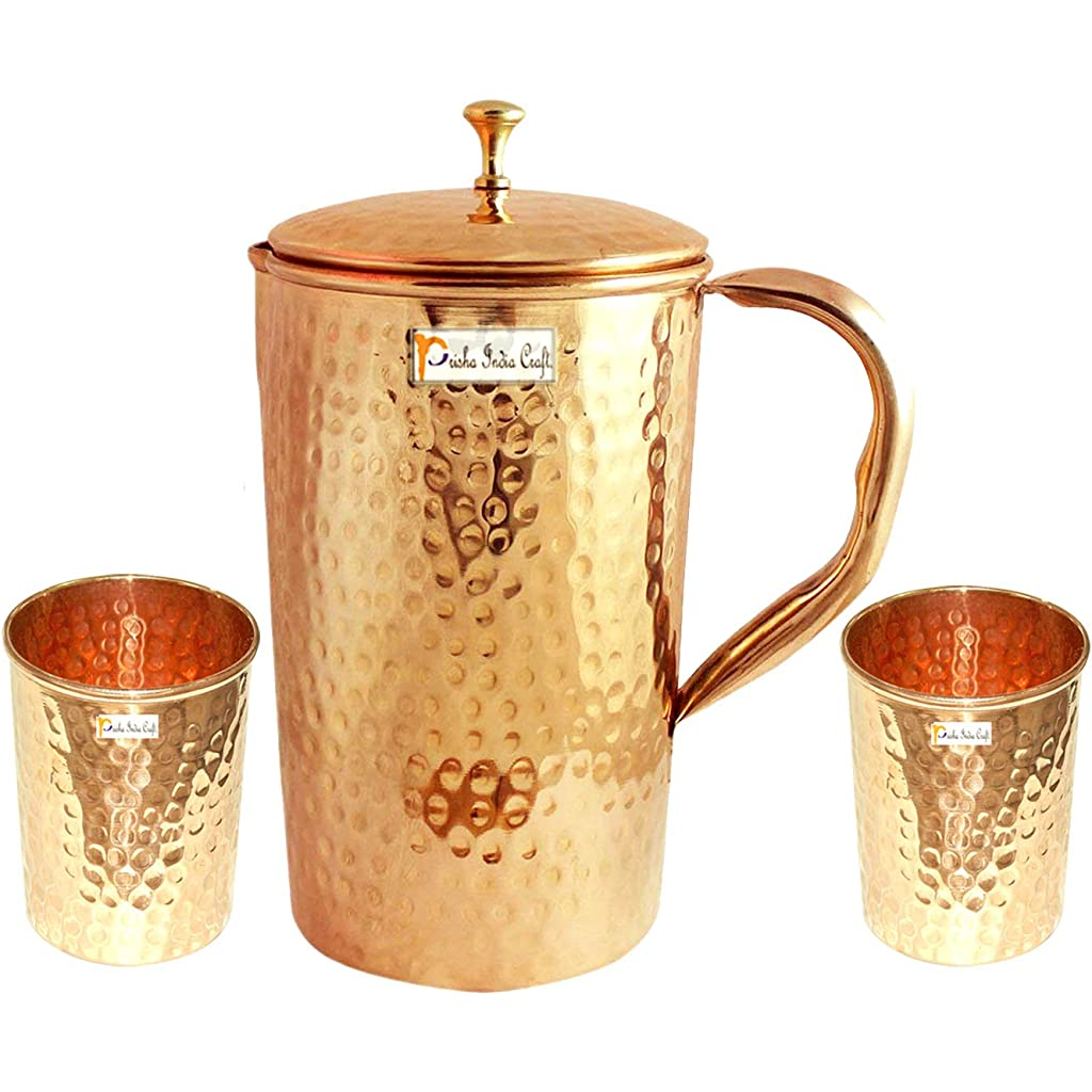 RoyaltyLane Pure Copper Jug with Lid and 2 Tumbler Glass Set for Ayurvedic Healing