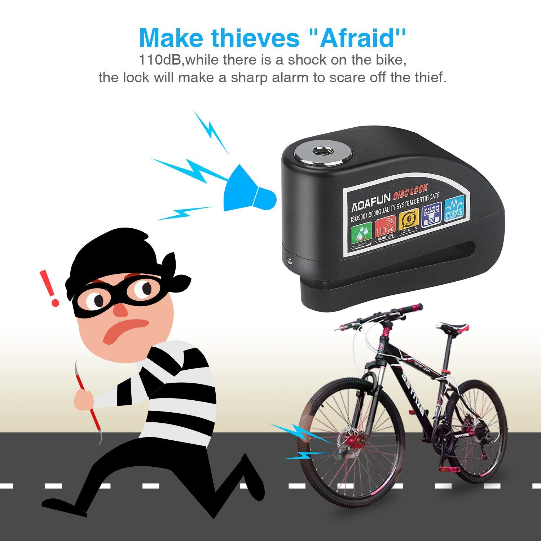 Aoafun Alarm Disc Lock Motocicleta Bike Alarm Disco de bloqueo de freno Anti Theft Impermeable 6 mm 110dB de bloqueo de seguridad para Motocicleta Bike ...