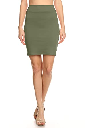 0765968f9 Green Pencil Skirt Womens, Green Above Knee Skirt Green Juniors High Waist  Skirt