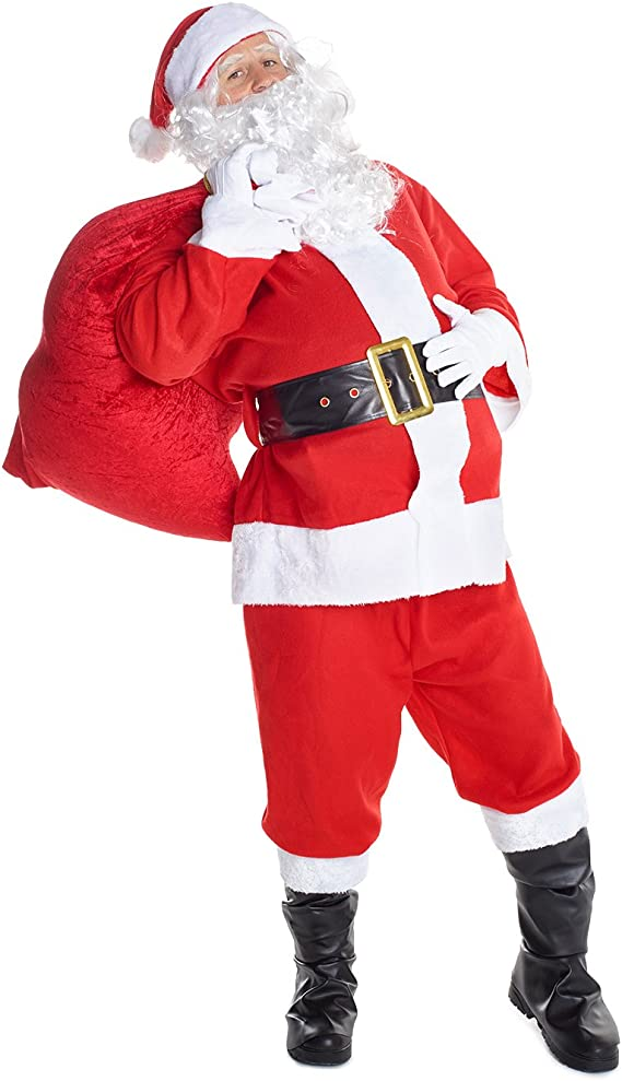 LH TALL SANTA HAT CHOOSE STYLE FATHER CHRISTMAS MRS CLAUS FANCY DRESS COSTUME
