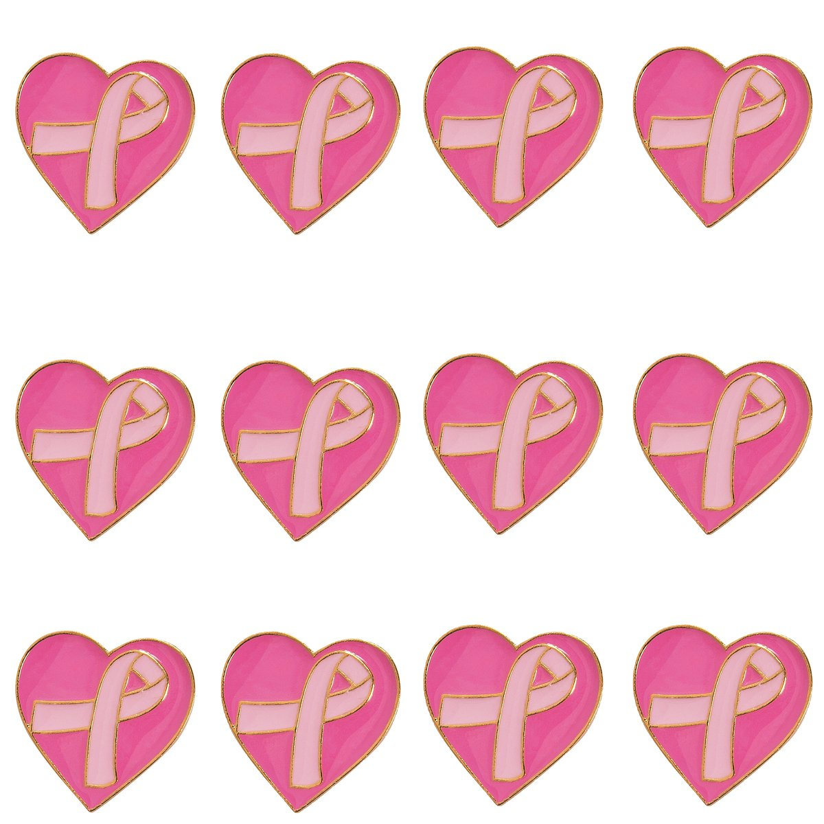 Pink Ribbon Breast Cancer Awareness Set - 12 Pink Camouflage Bracelets + 12 Message Pens + 12 Pink Ribbon Heart Pins + 12 Dog Tag Necklaces by Pink Ribbon Awareness (Image #3)