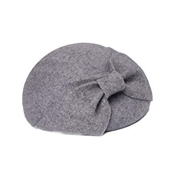 705d1972b9cb0 100% Wool Fedora Bow Felt Hat Autumn Winter Elegant Hats Lady Weeding  Fedoras Fascinator Hat Vintage Hats at Amazon Women s Clothing store