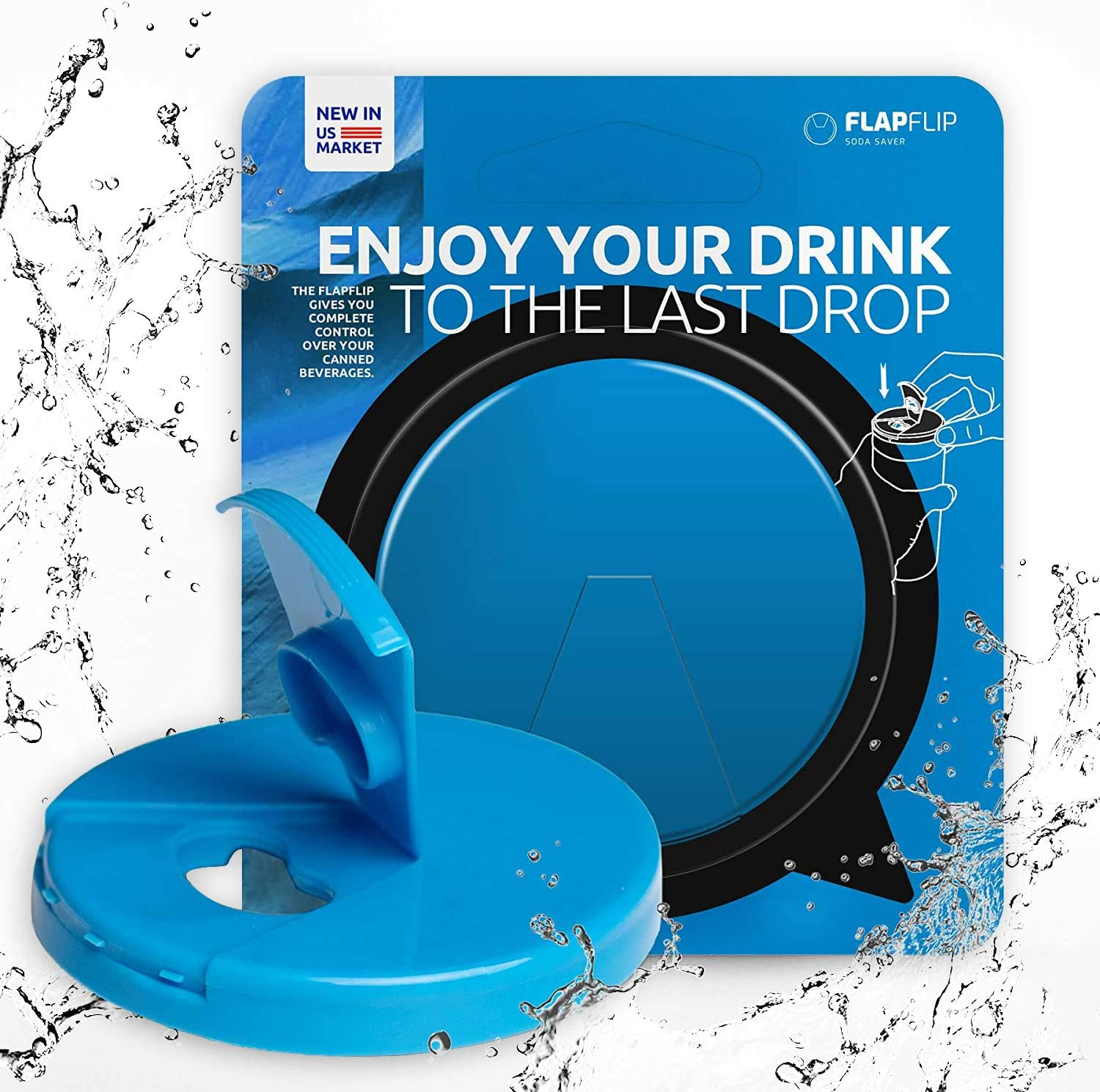 FlapFlip Premium Soda Can Lids – Reusable Beer & Pop Can Covers - PREMIUM Product - Fits on most of 12 oz - 16 oz Can - Available in 5 Fashionable Trend Colors - China FREE (Deep Sky Blue)