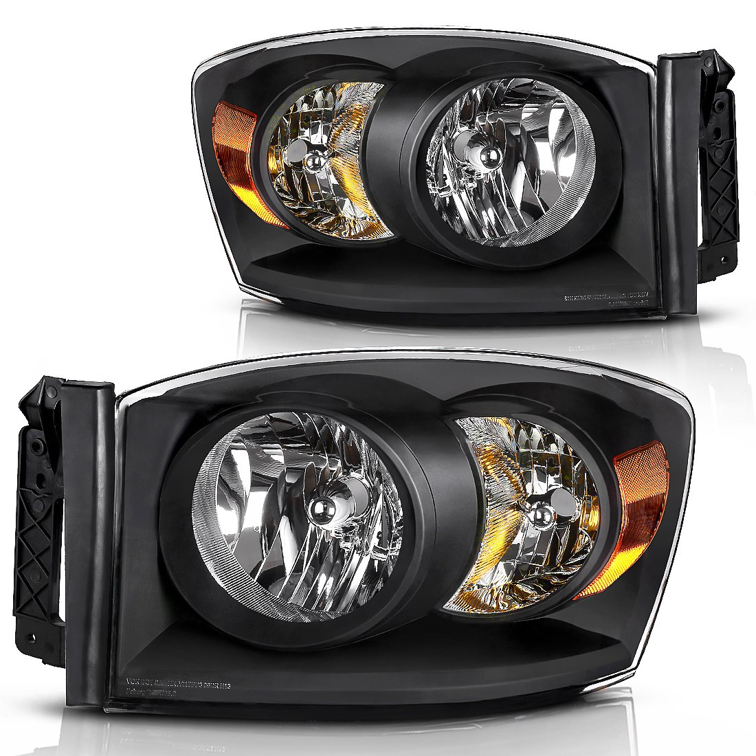 Headlight Assembly for 2006-2008 Dodge Ram 1500 2500 3500 Pickup Replacement Headlamp Driving Light Black Housing Amber Reflector Clear Lens,