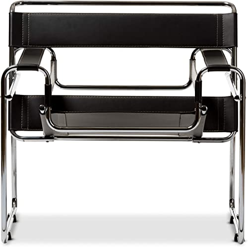 Baxton Studio Modern Leather Accent Chair, Black and Chrome