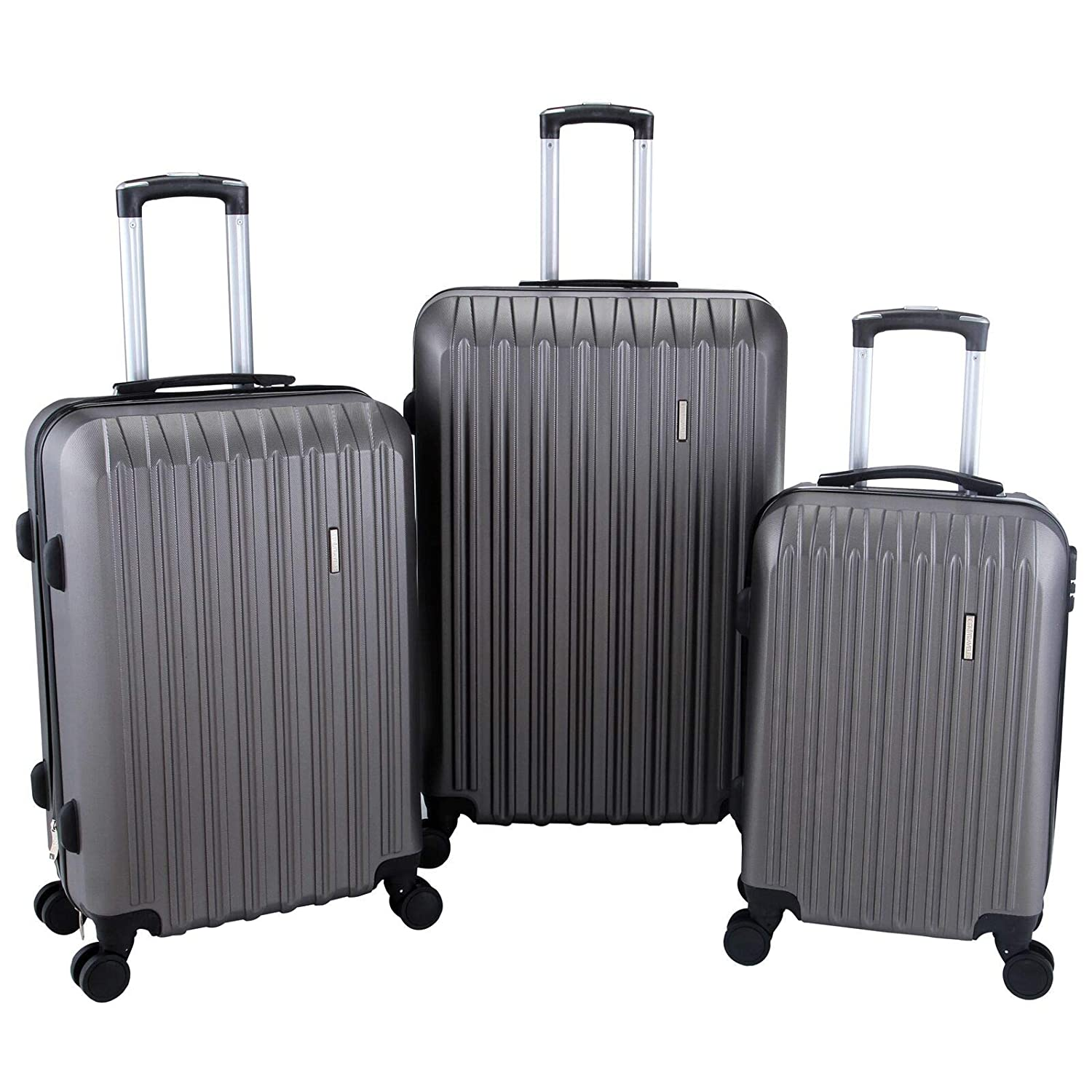 Murtisol 3 Pieces ABS Luggage Sets Hardside Spinner Lightweight Durable Spinner Suitcase 20 24 28, Black