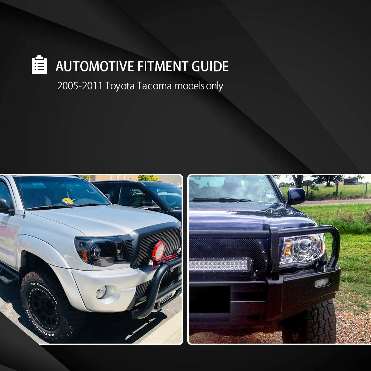 Autozensation For Toyota Tacoma Black Clear Projector Headlights w//Amber Reflector
