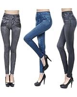 Womens Stretchy Waist Skinny Jeggings Pants Tights Leggings 3Pack