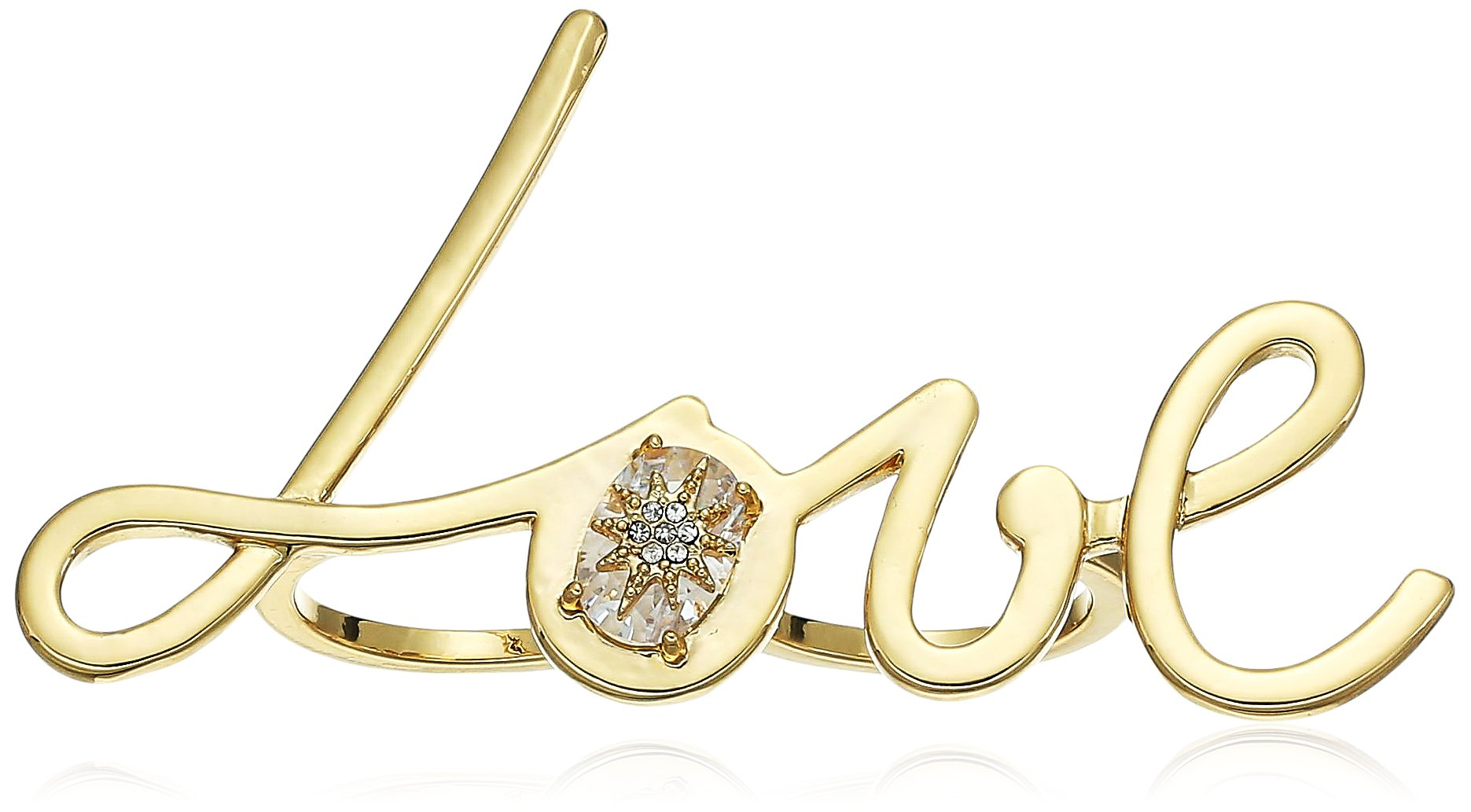 betsey johnson ''betsey blue'' love gold double finger ring, size 7