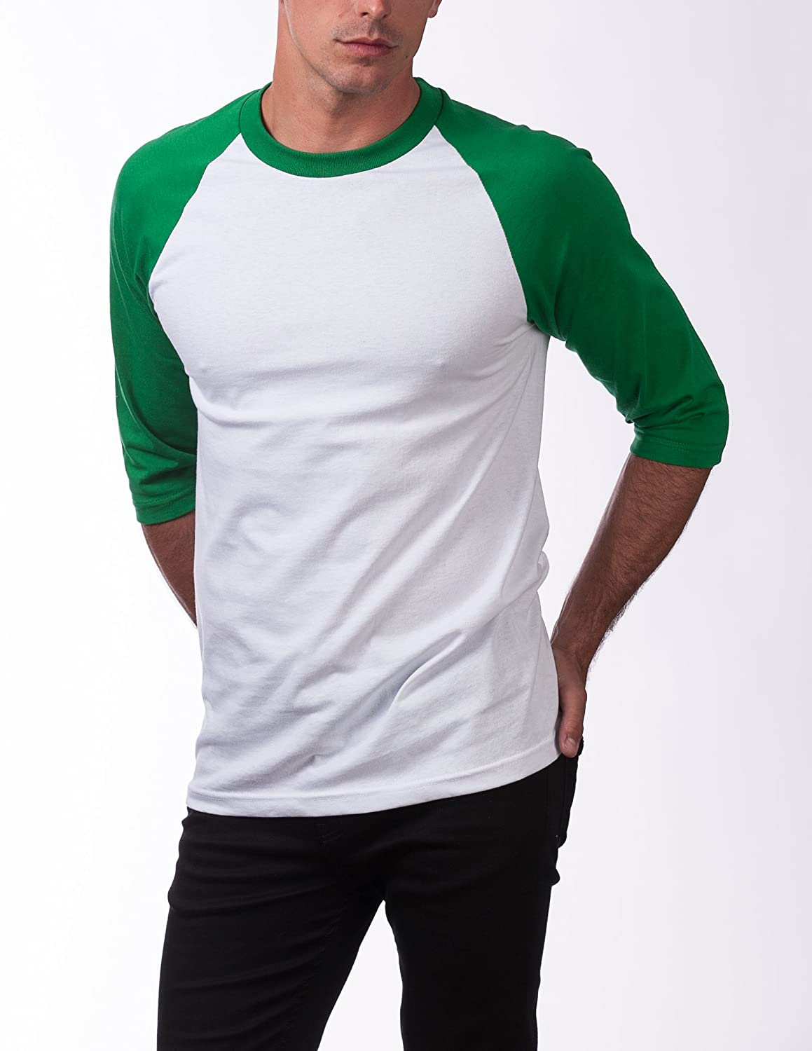Pro Club Mens 3//4 Sleeve Crew Neck Baseball Shirt